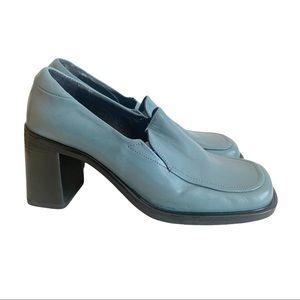 Aldo Light Blue Leather Block Heel Shoes 8.5 Italy